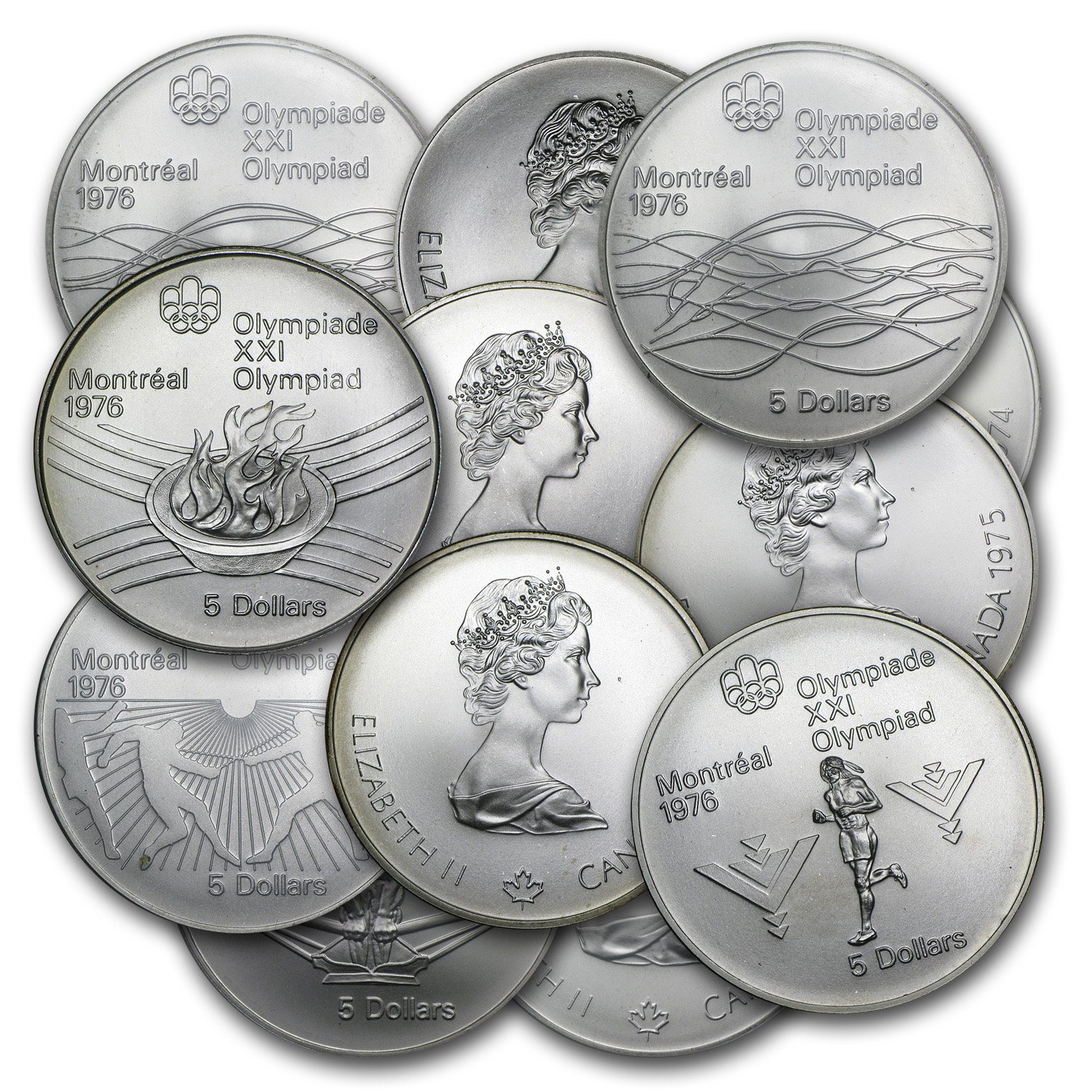 1976 $5 Canadian Olympic Silver Coin (BU/Proof) ASW .7227